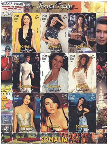 Americano leggenda del rock Shania Twain timbro da collezione minifoglio su un fondale Canada / 9 francobolli/Somalia / 2002