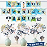 47 Pieces Let The Adventure Begin Party Decoration Set, Bon Voyage Travel Themed Party Banner and Centerpiece Stickers, World Map Photo Booth Props for Retirement Travel Party Decorations Supplies