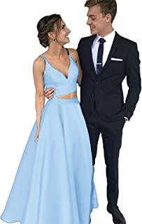 Two Pieces Satin Prom Dresses 2018 V Neck Long Formal Party Dresses Ball Gown BD459
