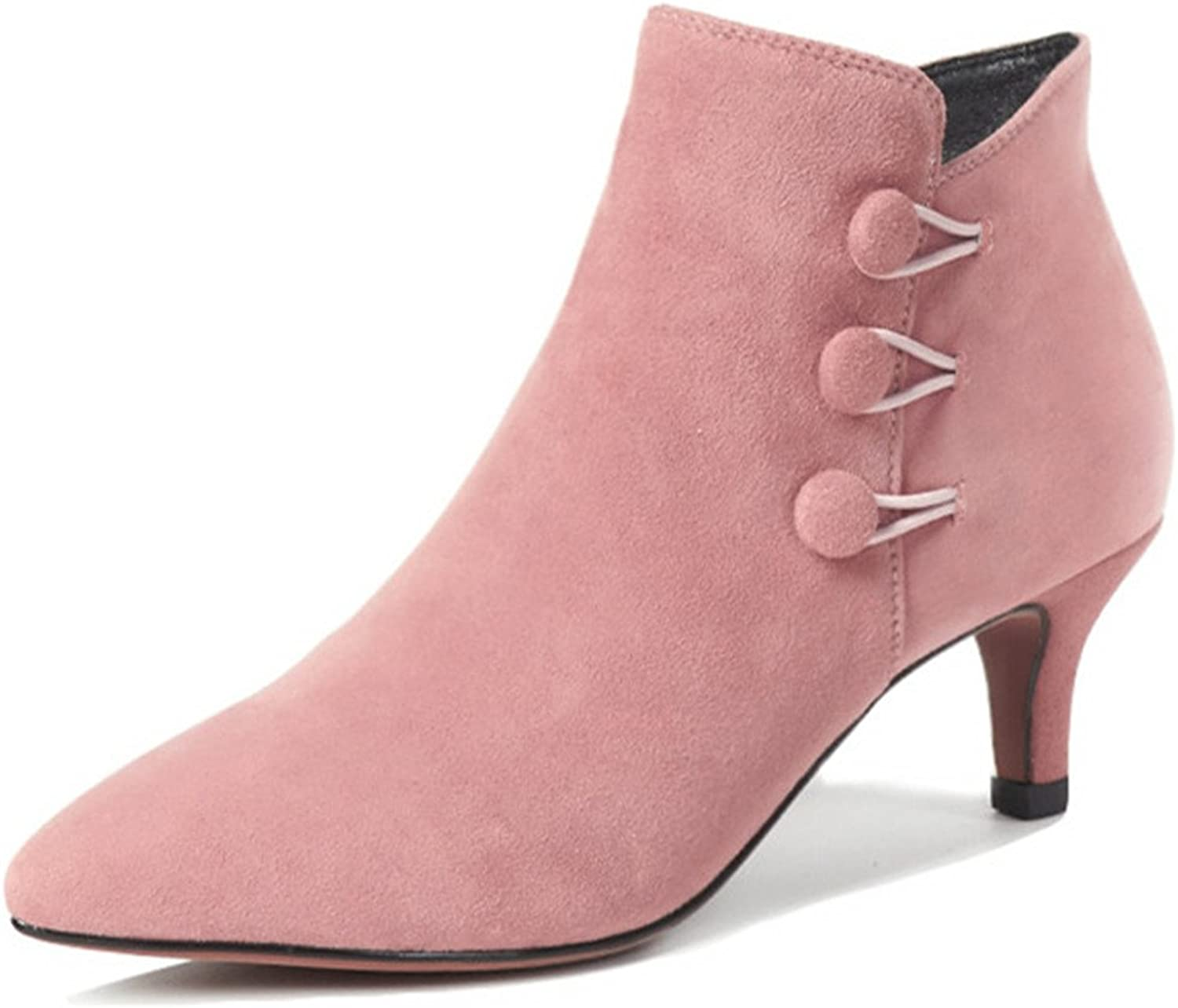Nine Seven Suede Leather Women's Pointed Toe Stiletto Heel Side Zip Handmade Pink Button Ankle Boots