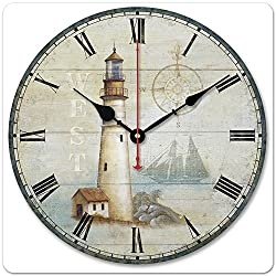 WENXUAN 12 Retro Vintage Light House Ocean Style Non-Ticking Silent Wooden Wall Clock