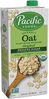 Pacific Foods Oat Milk, Reduced Sugar Original, 32 oz (12-pack)| Shelf Stable, Plant-Based, Vegan, Non GMO