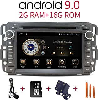 Car Stereo Radio in Dash Navigation for GMC Sierra Yukon Chevrolet Buick Chevy Silverado,7 inch HD Touchscreen Android 9.0 Double Din DVD Player Bluetooth with Rear View Camera,16GB SD Card,3.5mm Mic