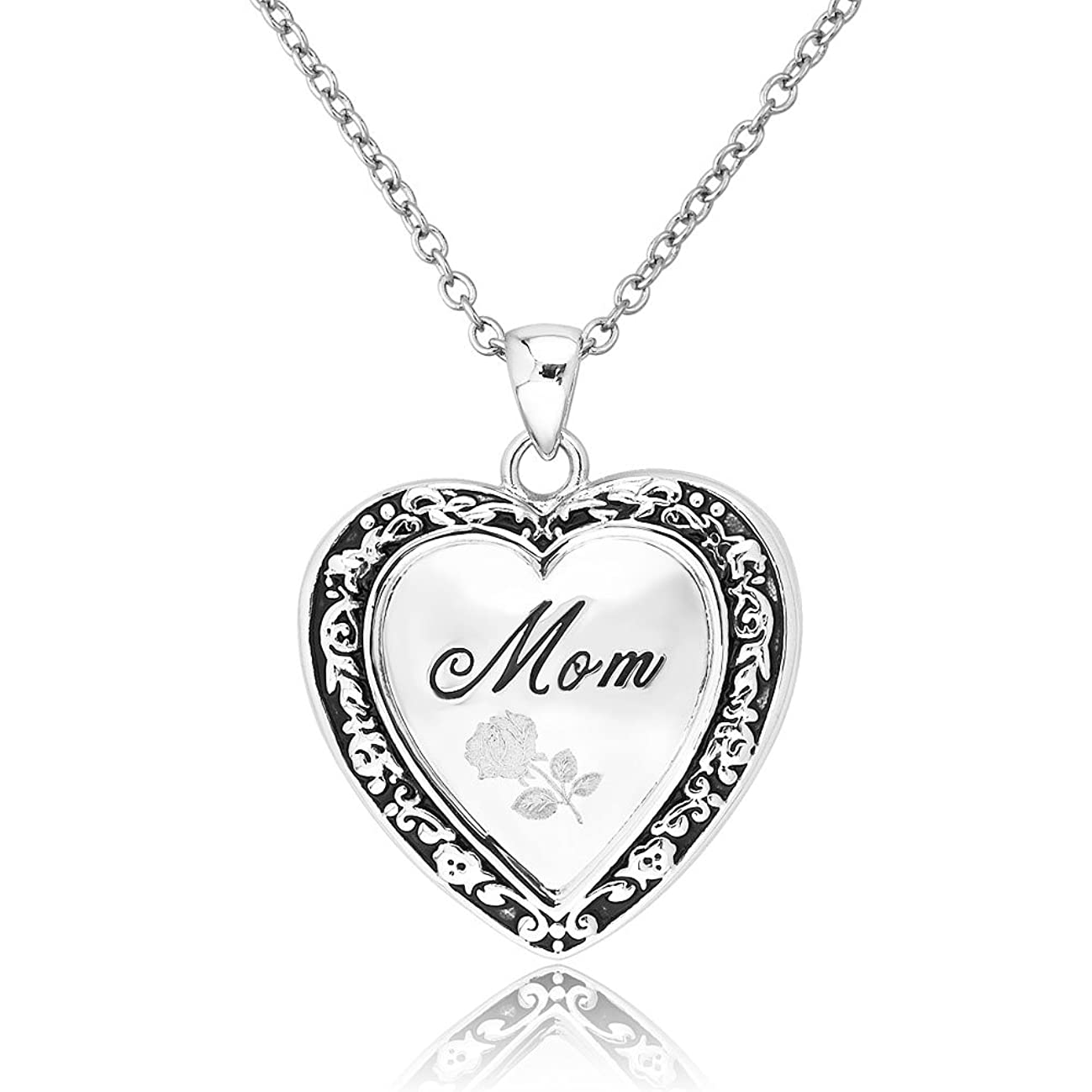 Mother's Day Gift Engraved Rose Flower I Love You Mom Heart Locket Pendant Necklace Chain 18