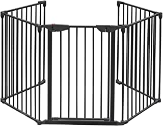 ハースゲート 安全ゲート 5面セット ドア付 おくだけ セーフティーゲート ストーブガード 簡易フェンス 組立て式 玄関 階段 自由に組み合わせ 育児用品 ペット用