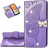 LEMAXELERS Samsung Galaxy S8 Plus Case Bling Diamond Butterfly Embossed Wallet Flip PU Leather Magnetic Card Slots with Stand Cover for Samsung Galaxy S8 Plus Diamond Butterfly Light Purple SD