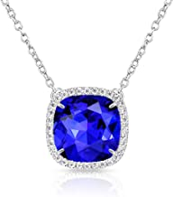 Alantyer Birthstone Necklace Square Pendant Anniversary Jewelry Gifts for Women and Girls Crystal Comes from Swarovski