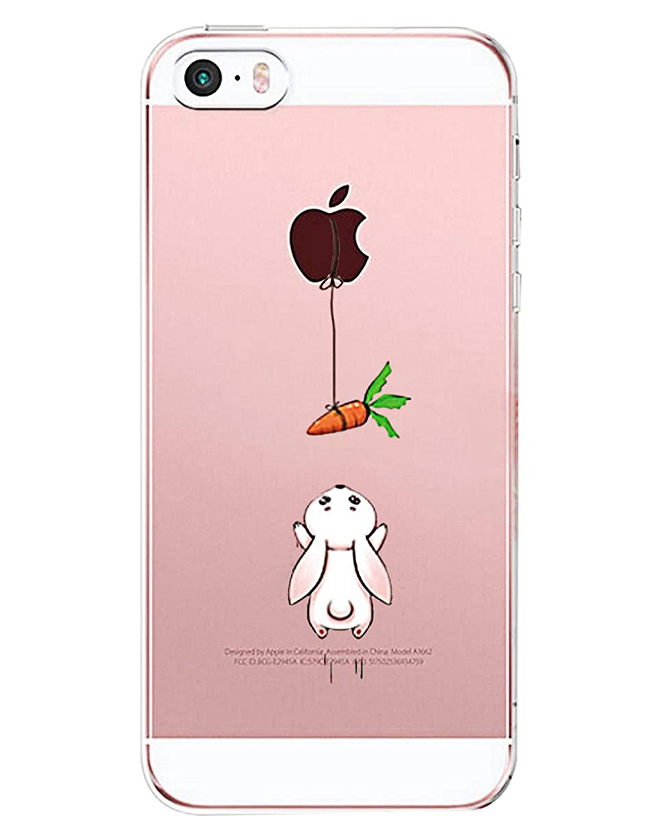 Matop Compatible for iPhone SE 5S 5 Crystal Clear with Design Soft Ultra Thin TPU Shockproof Protective Bumper Case Shock Absorption Slim Pattern Back Cover for iPhone SE/5S/5 (Rabbit Carrot) nhyas8837