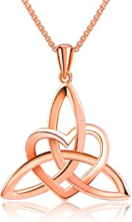 Sterling Silver Rose Gold Plated Good Luck Irish Celtic Knot Triangle Lover Heart Shaped Pendant Necklace and Ring