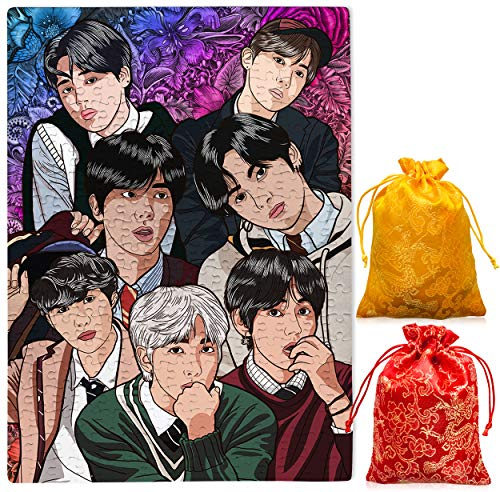 BTS Kpop Boy Band Floral Jigsaw Puzzle UV Glow 300 piezas A3 personalizado flor rompecabezas regalo (BTS)