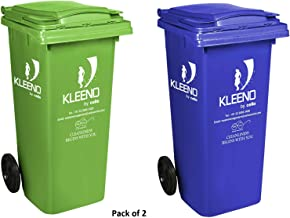 Cello Wheel Garbage Waste Dustbin 120 LTR - Green/Blue Combo - Pack of 2