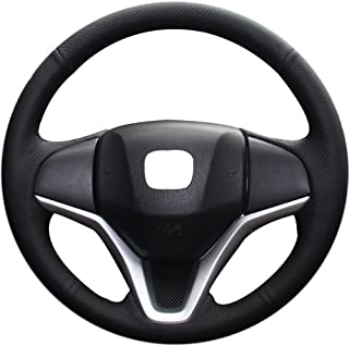 XuJi Hand Sewing Black Holes Genuine Leather Black Thread Steering Wheel Cover for 2014 Honda new Fit