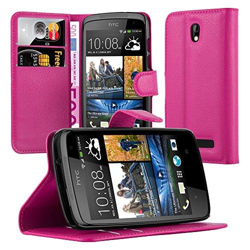 Cadorabo Hülle für HTC Desire 500 in Cherry PINK - Handyhülle mit Magnetverschluss, Standfunktion & Kartenfach - Hülle Cover Schutzhülle Etui Tasche Book Klapp Style