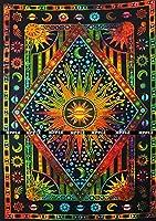Jaipur 手織り ツインブルー 絞り染 パープル 燃える太陽 タペストリー、天 太陽 月 惑星 ボヘミアンタペストリー 壁掛け ボヘミアンタペストリー ヒッピー ヒッピー風タペストリー ビーチ カバーレット カーテン Twin (55 X 85 inches approx) SM-td-orange_recsun