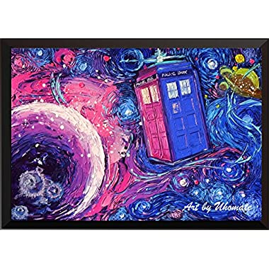 Uhomate Tardis Dr Who Doctor Telephone Booth Wall Decor Vincent Van Gogh Starry Night Posters Home Canvas Wall Art Print Anniversary Gifts Baby Gift Nursery Decor Living Room Wall Decor A099 (13X19)