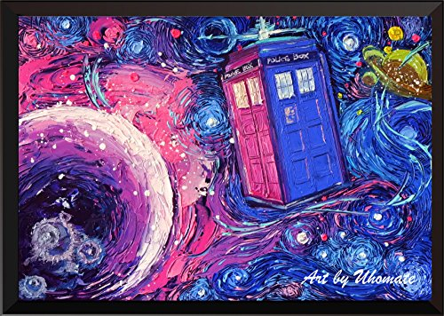 Uhomate Tardis Dr Who Doctor Telephone Booth Wall Decor Vincent Van Gogh Starry Night Posters Home Canvas Wall Art Print Nursery Decor Living Room Wall Decor A099 (24X30)