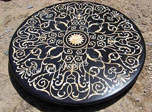 Mesa de comedor redonda de mármol negro con mosaico Art elegante mirada mesa de restaurante para hotel y bar 172 x 172 cm