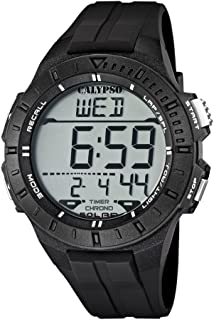 Calypso Unisex Digital Watch with LCD Dial Digital Display and Black Plastic Strap K5607/6