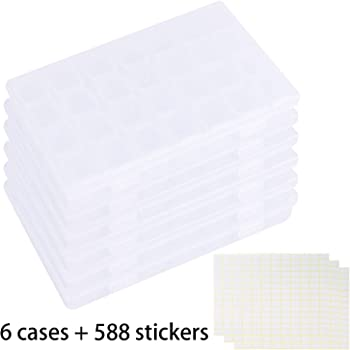 Tosnail 6 Pack 28 Grids Plastic Craft Organizer Case Diamond Storage Box with 588 Pieces Stickers - Great for Sewing, Crafting, Beading, Nail Art Rhinestones, Jewelry, Diamond Embroidery - Clear