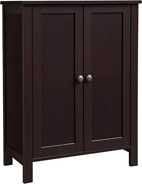 VASAGLE Bathroom Floor Storage Cabinet With Double Door Adjustable Shelf 23 6 L X 11 8 W X 31 5 H Brown UBCB60BR