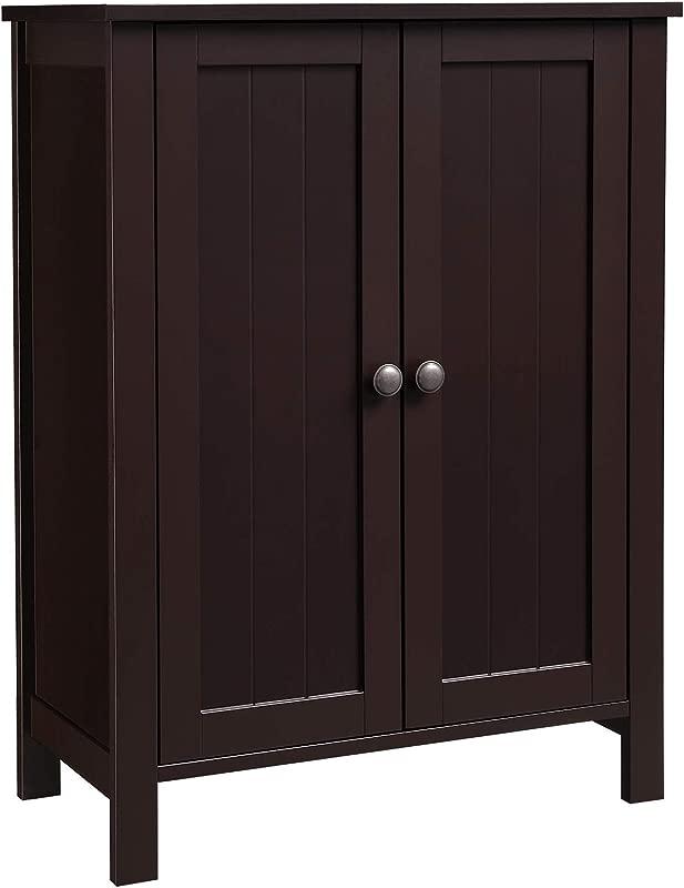 VASAGLE Bathroom Floor Storage Cabinet With Double Door Adjustable Shelf 23 6 L X 11 8 W X 31 5 H Brown UBCB60BR