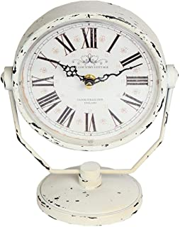 Lily's Home Antique Inspired Decorative Mantle Clock with Large Roman Numerals, Battery Powered with Quartz Movement, Fits with Victorian or Antique Décor Theme, White