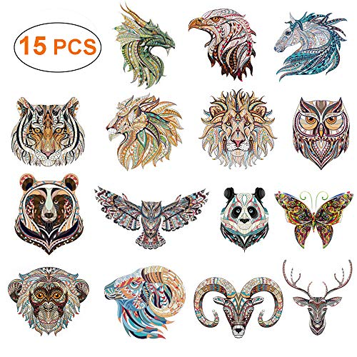 Animals Patches - Iron on Stickers Heat Transfer Appliques Cool Retro Folk-Custom Badges Logo with Butterfly Unicorn Dragon Lion Owl Tiger Design Decals for DIY T-Shirt, Bags, Hats, Jackets(15 PCS)