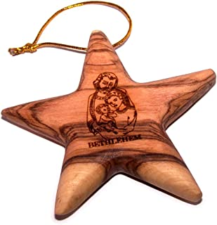 Holy Land Market Star Engraved with Nativity Scene Olive Wood Ornament - 3D (3 Inches)