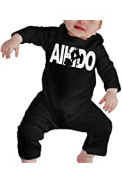 Cute Retro Style Karate Silhouette Playsuit Short Sleeve Cotton Rompers for Unisex Baby