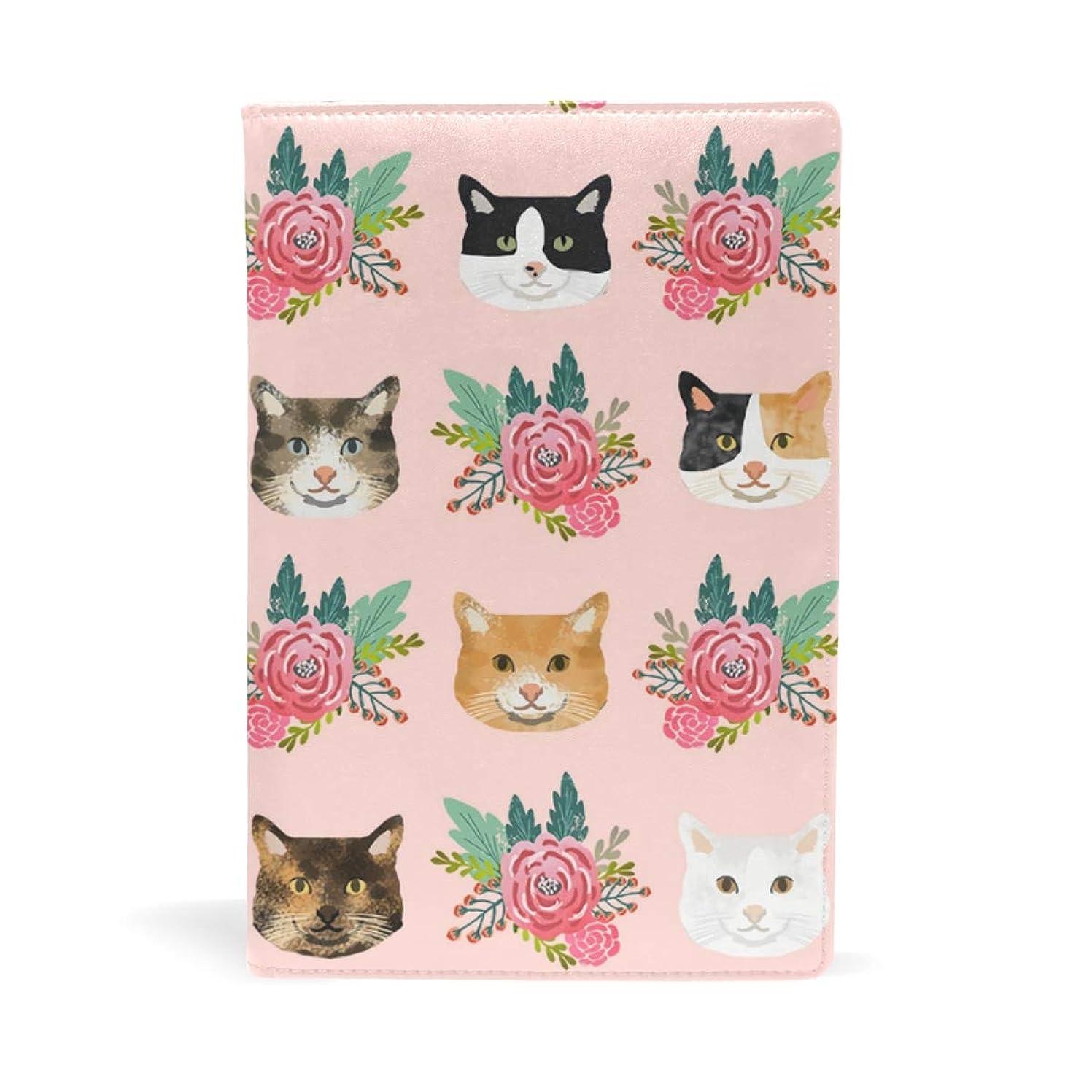 再び時々芸術猫の顔 花柄 ブックカバー 文庫 a5 皮革 おしゃれ 文庫本カバー 資料 収納入れ オフィス用品 読書 雑貨 プレゼント耐久性に優れ