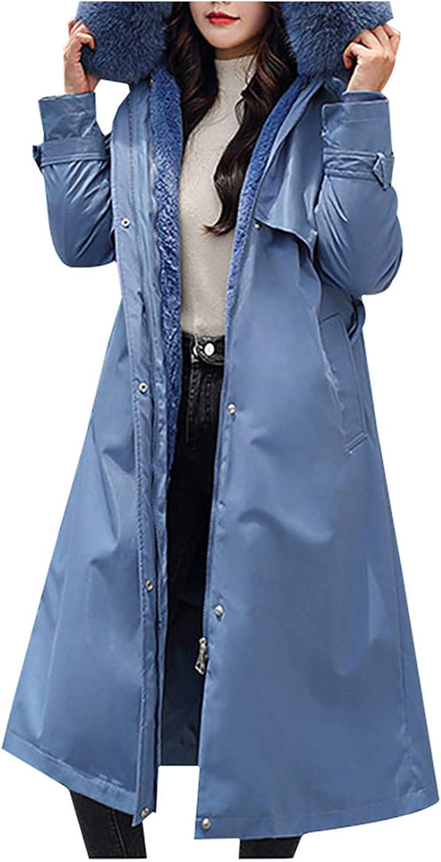HGWXX7 Womens Coats Plus Size Fur Hood Fleece Lining Reversible Long Parka Jacket Long Sleeve Pocket Zip Outwears Blue