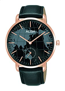 ساعة انالوج بعقارب وسوار جلد وميناء شكل خريطة للنساء من البا Prestige - اسود وروز جولد