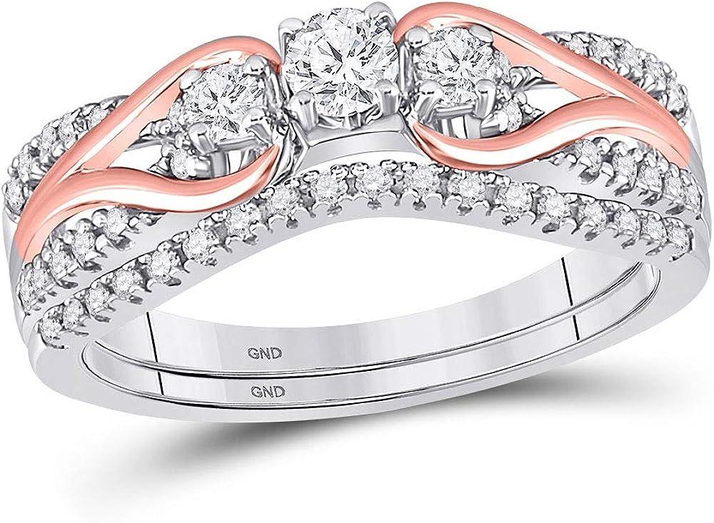 10kt Two-tone Gold Round Diamond Bridal Wedding Ring Band Set 5/8 Cttw