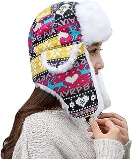 Screenes Unisex Aviador Gorra Mujeres De Patrón Hombres Navidad Trapper Cálido Estilo Simple Moda Esquí con Orejeras Sombrero De Piel Sintética