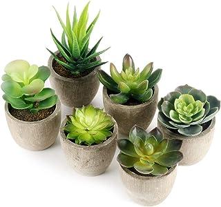 GoMaihe Plantas Suculentas Artificiales, 6 Piezas, Planta Artificial Decorativa, Adecuado para El Hogar Oficina Decoración...