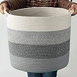 COSYLAND XL Cotton Rope Basket 15.8'x 15.8'x14.6' Decorative Woven Cotton Rope Basket, Laundry Basket, Blanket Basket, Baby & Dog Toy Storage Baskets & Bin, Kid Laundry Hamper