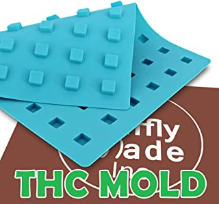 "Mini Rounded Square THC Mold, Edible Gummies, Adds ""Contains THC"" logo. Candy Mold, 54 cavities"