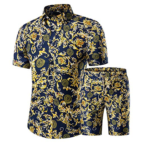 Men's Floral 2 Piece Tracksuit Short Sleeve Top and Shorts (T01, XL)