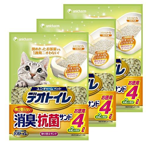 デオトイレ 1週間消臭・抗菌 飛び散らない消臭・抗菌サンド 4L×3個