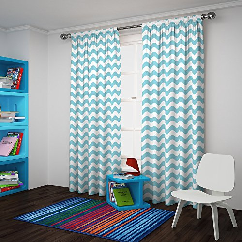 """ECLIPSE Kids Room Darkening Curtains for Bedroom - My Scene 42"""" x 84"""" Thermal Insulated Single Panel Rod Pocket Light Blocking Privacy Curtains for Nursery, Pool Blue"""