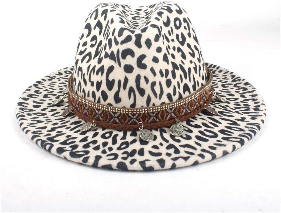 HXGAZXJQ Autumn Winter Men's Women's Wool Polyester Fedora Hat Panama Wide Hat Official Tassel Woven Floppy Felt Jazz Hat (Color : White, Size : 56-58cm)