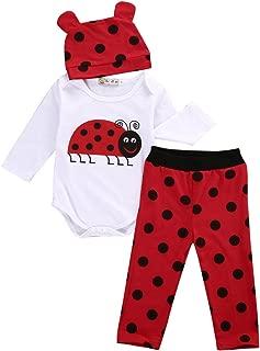3PCS Infant Newborn Baby Boys Girls Animal Print Long Sleeve Romper Bodysuit Tops + Long Pants and Hat Outfits Set