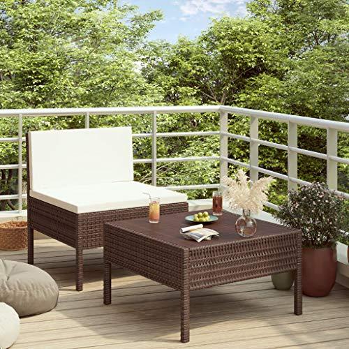 FAMIROSA Set de Muebles de jardín 2 Piezas con Cojines ratán PE marrón (11,5kg)