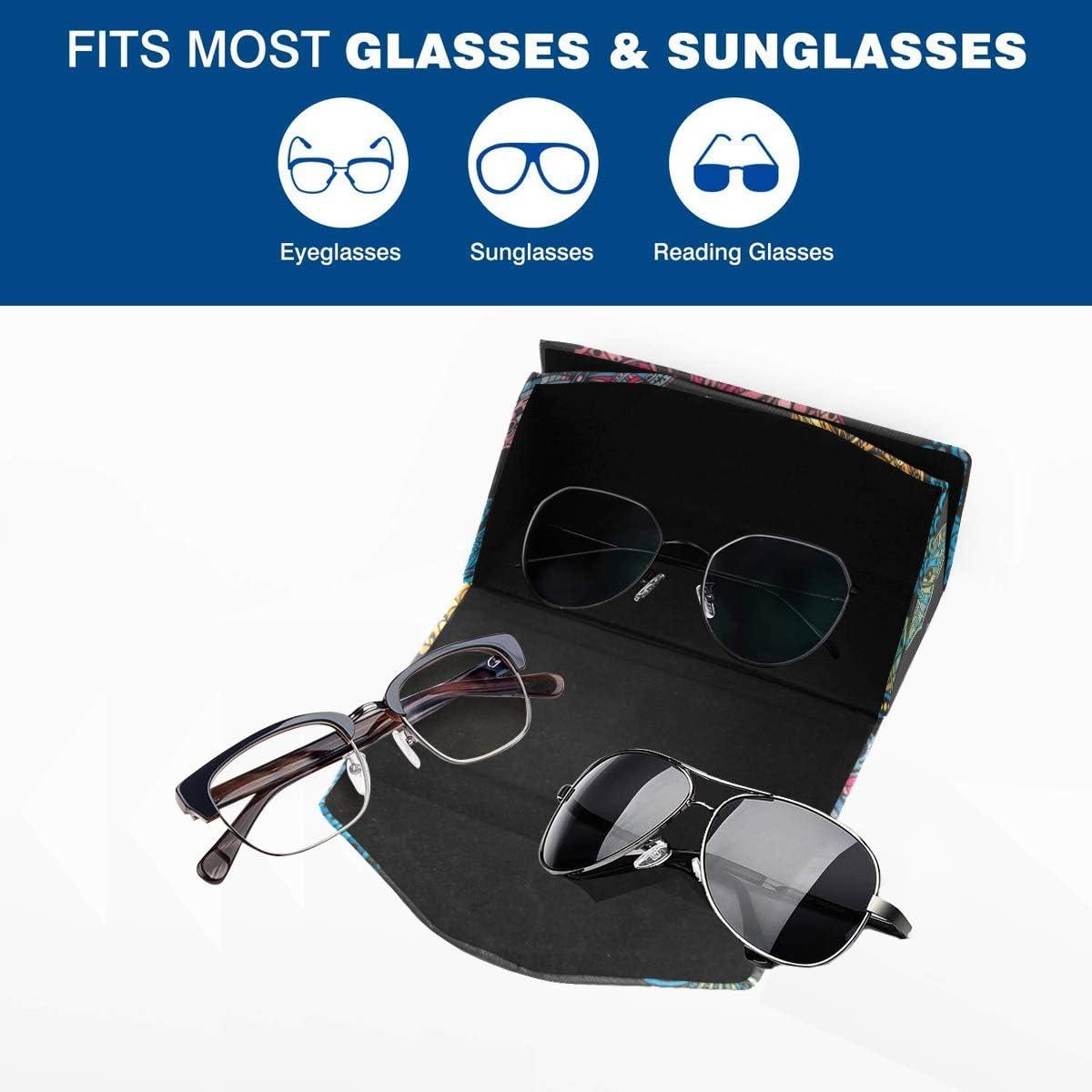 Glasses Case Ornate Doodle Butterflies Eyeglass Case Leather Magnetic Folding Hard Case Sunglasses Eyewear Protective Case