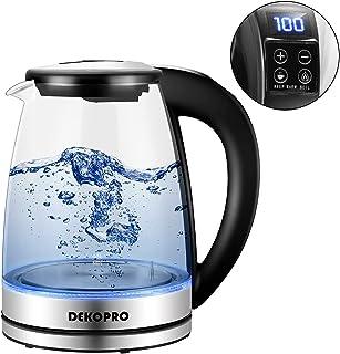 DEKOPRO 電気ケトル 大容量 温度調節 保温機能付き 1.8L 湯沸かしポット ガラスケトル