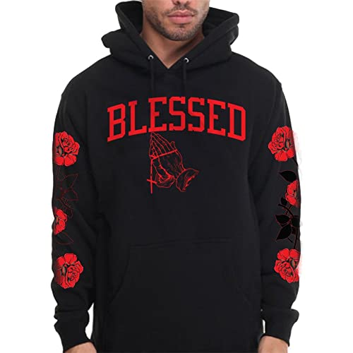 ecca7f6f2 CaliDesign Men's Blessed Hoodie with Roses On Sleeve Blessed Designer  Pullover Sweatshirt