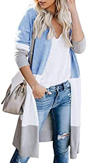 Tricherry Women Knitted Cardigan Sweater Long Sleeve Patchwork Casual Outwear Coat Tops
