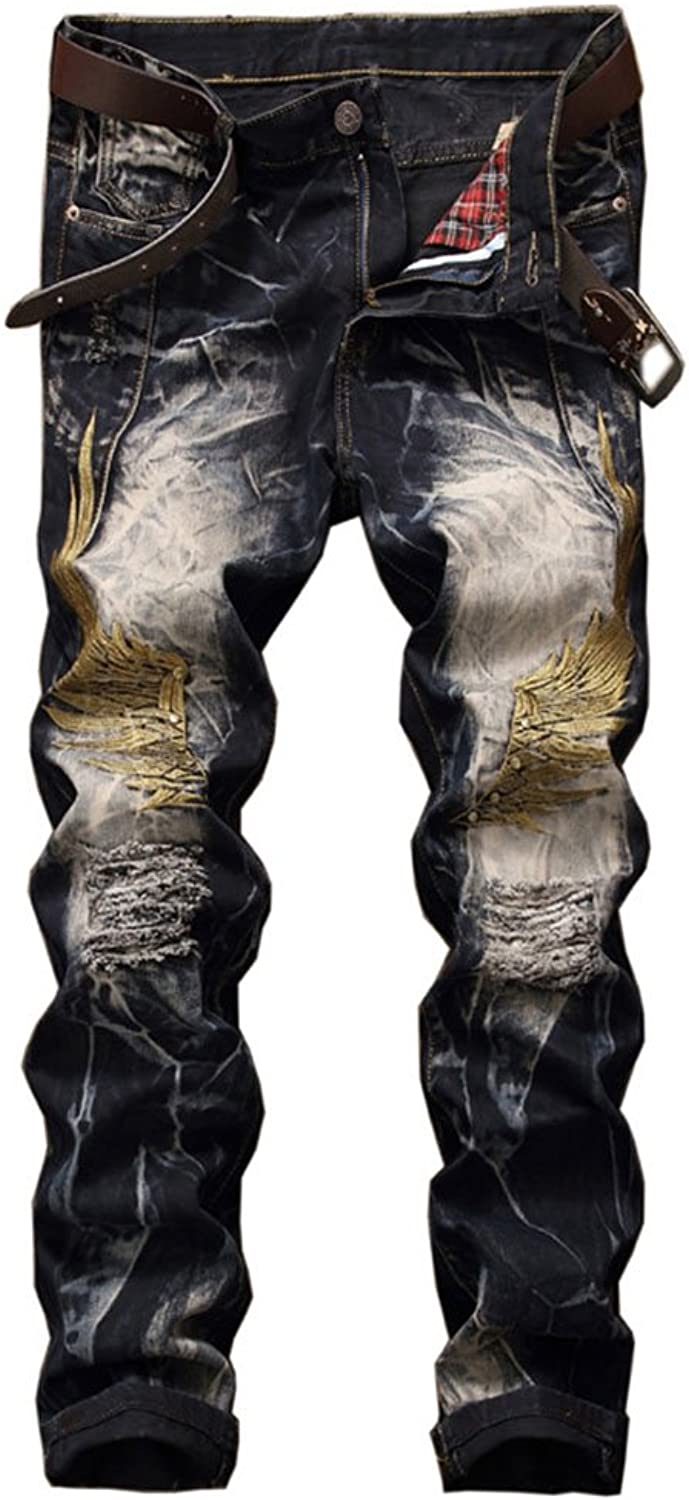 f2afc95006 WEEN CHARM Men's Ripped Pants Pants Pants Skinny Distressed Destroyed Slim  Fit Biker Jeans Vintage Style with Broken Holes be8acf