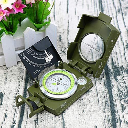 WWTTE Außenmultifunktions-Militär Reise Geologie Taschen Prismatic amerikanisches Kompass mit Leuchtanzeige (grün) 2O (Color : Green)