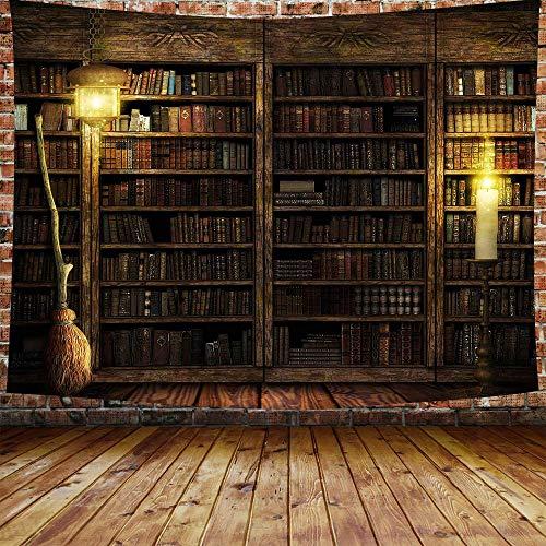 Tapiz de biblioteca vintage para biblioteca, tapiz, castillo mágico, libros en estantería con escoba de bruja, tapices de franela grande, 203 x 152 cm, para sala de estar, dormitorio, dormitorio